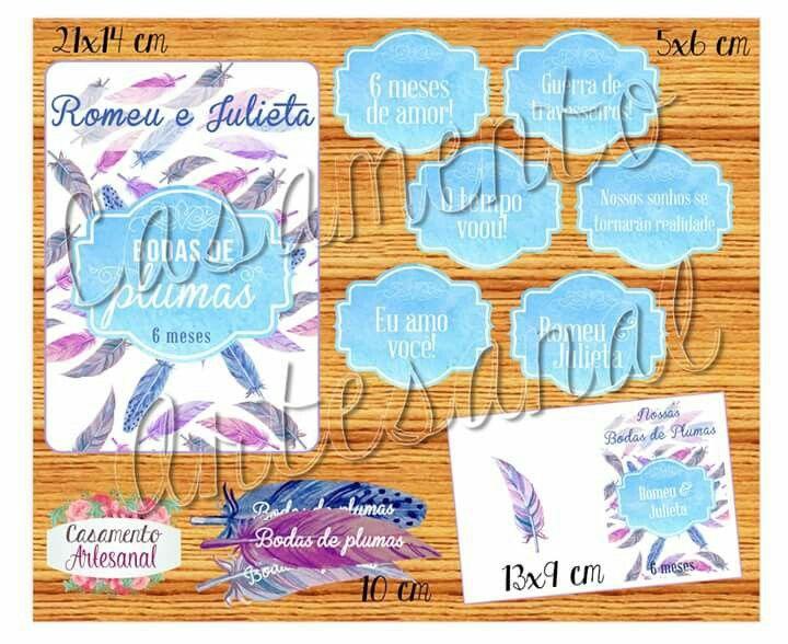 6 meses: Bodas de Plumas!! Que marco hein, 6 meses de sonhos realizados! Para comemorar, um kit lindão para espalhar carinho como plumas!! Informações e pedidos em meucasamentoartesanal@gmail.com
