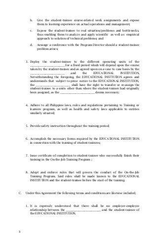 Memorandum Of Agreement Sample  Philippines