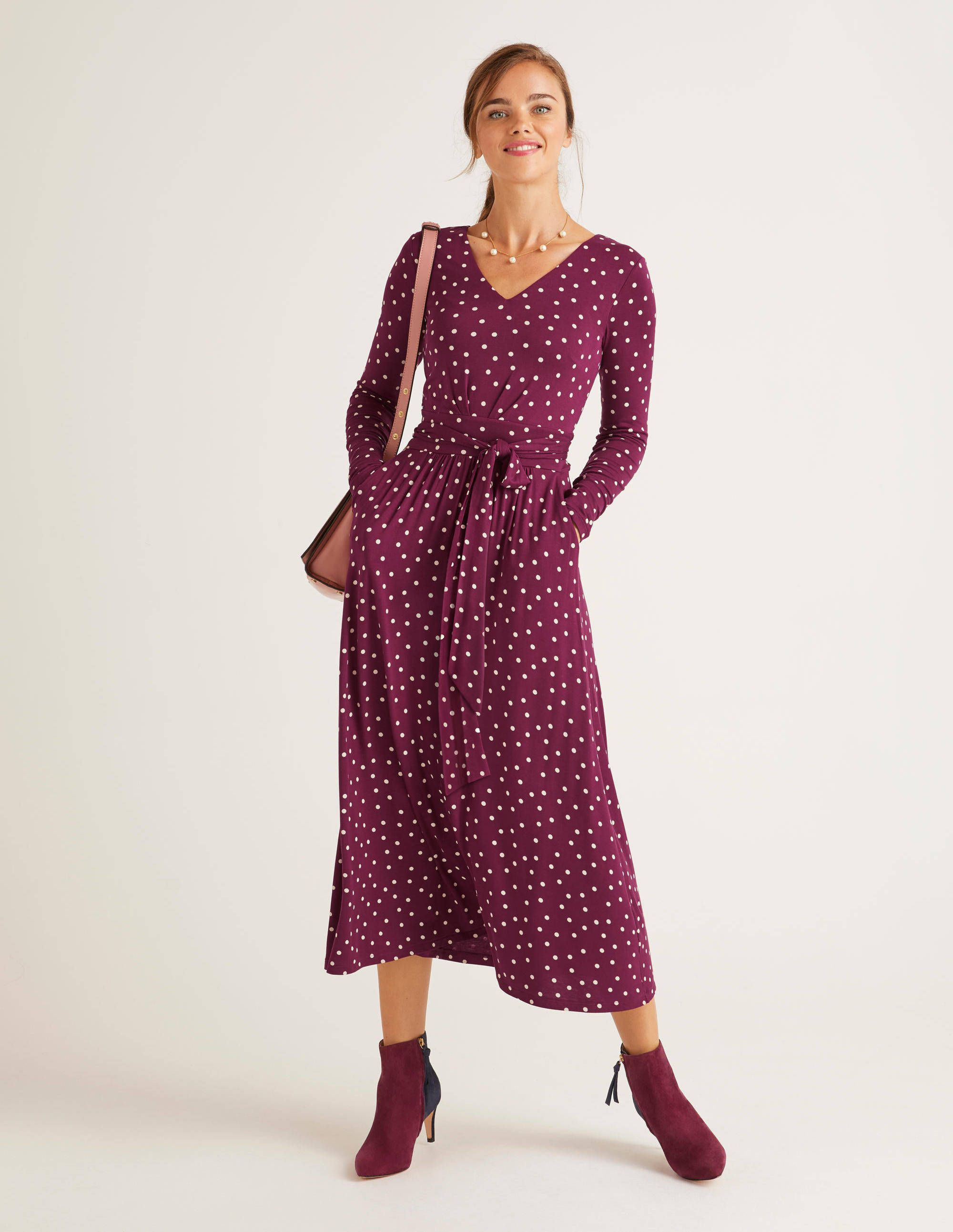 Ferne Jersey Midi Dress Black Dainty Leaf | Boden EU