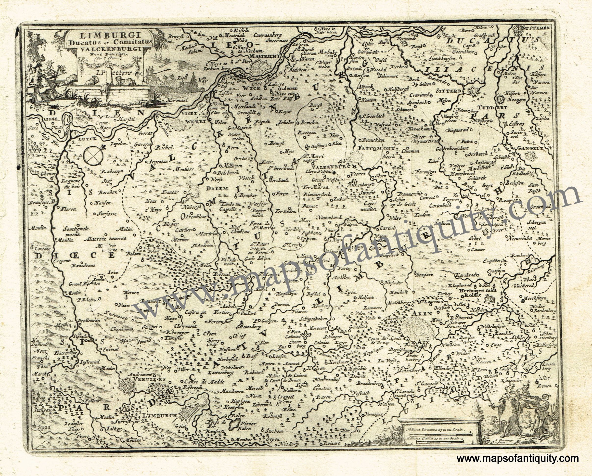 antique map belgium netherlands germany 1725