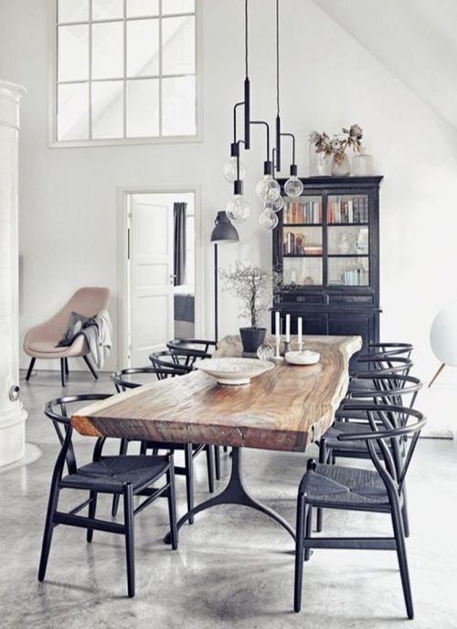 Gorgeous Live Edge Dining Table With Black Wishbone Chairs And Industrial  Chandelier Part 65