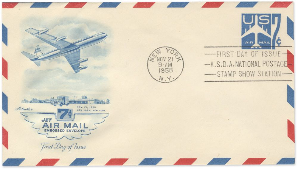 1958 airmail envelope stamped for New York