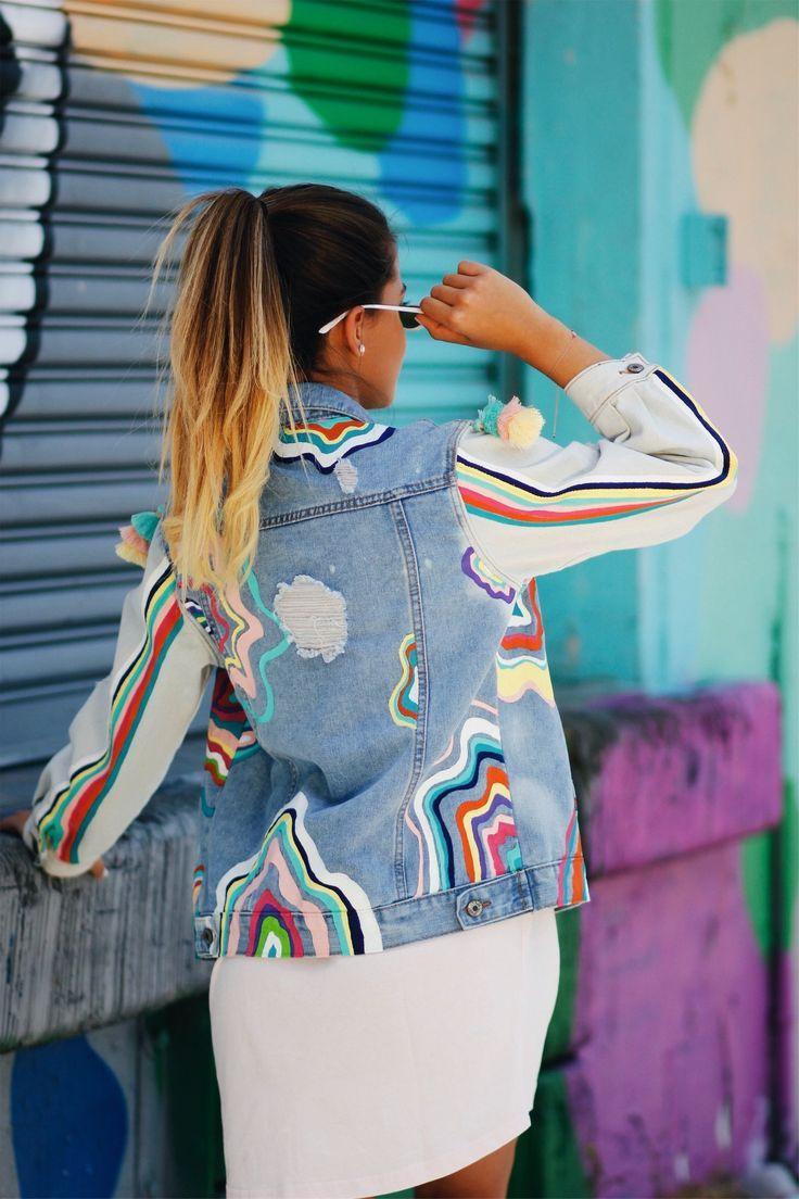 Custom Multicolored - Jean Jacket - womens jean jacket - denim - Denim jacket - painted denim