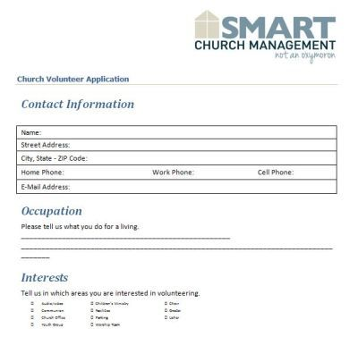 church volunteer application Places to Visit Pinterest - recruitment request form