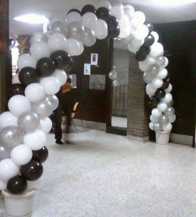 3 Color Swirl Arch Black White And Silver Globos Arco De Globos Colores