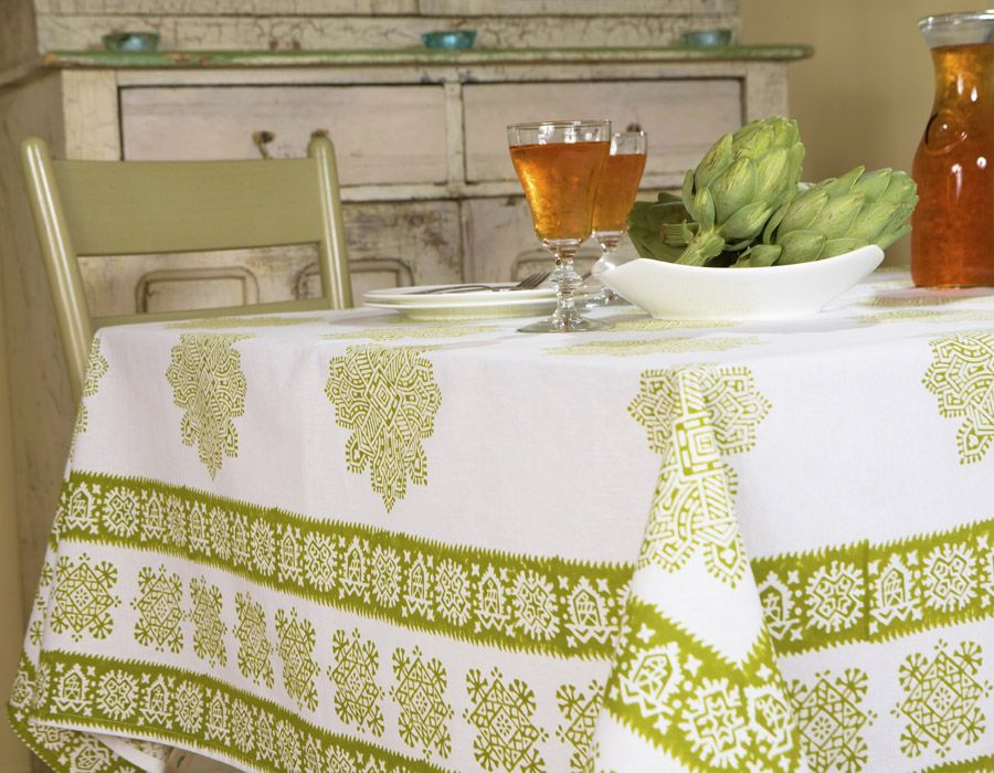 French Country Tablecloths   Green Table Cloth   Hand Block Printed From  Attiser