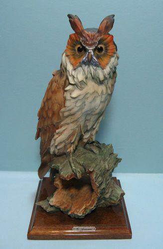 "Giuseppe Armani 12"" Figurine Owl on Hollow Log"