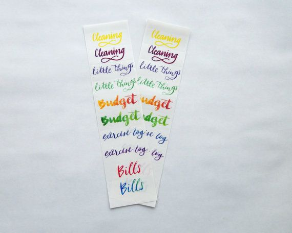 10 common header stickers hand lettered full water color calligraphy clear planner or bullet journal stickers transparent glossy
