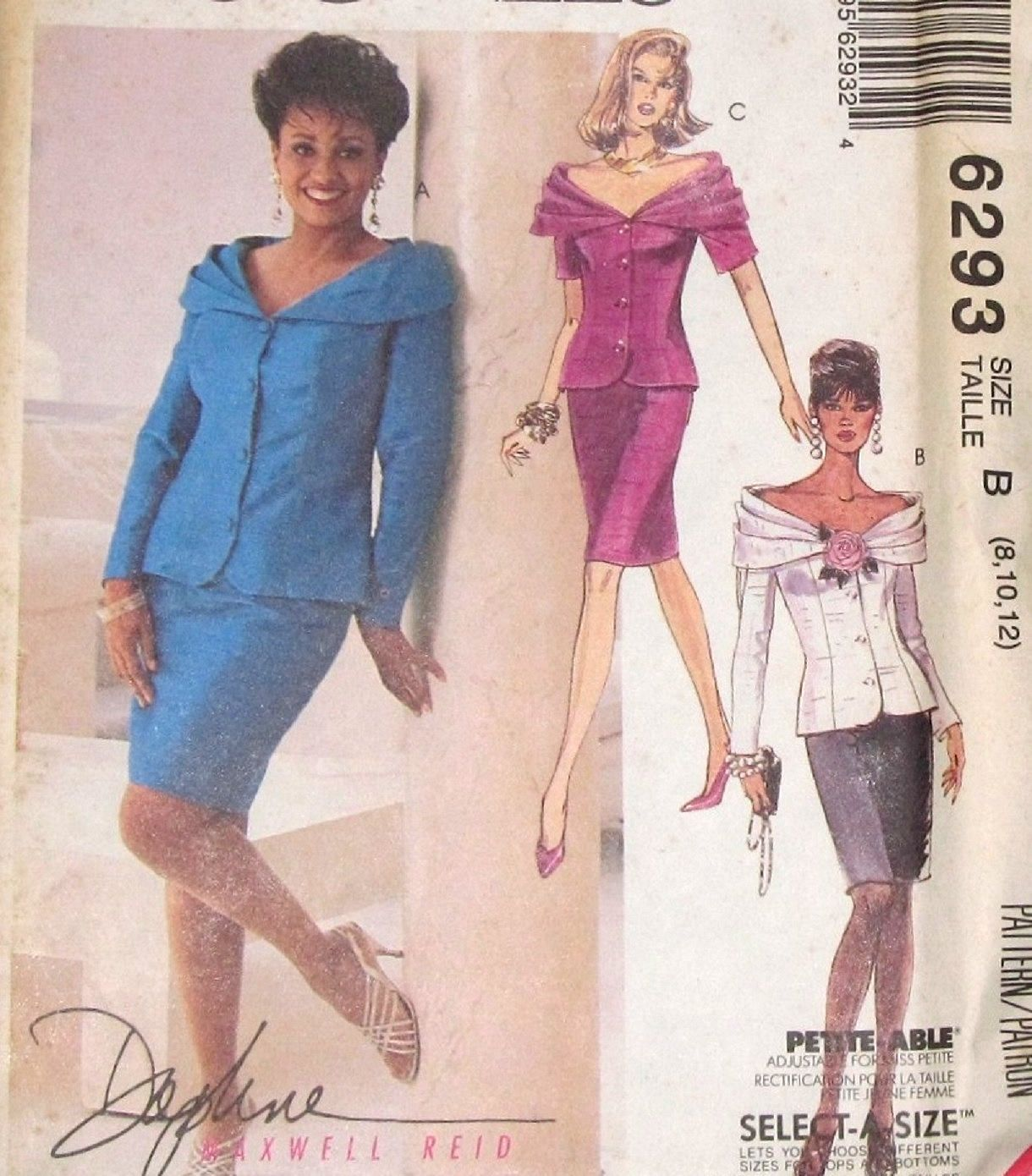 876fc2c00c01 Vintage Daphne Maxwell Reid Designer Sewing Pattern McCalls 6293 Off  Shoulder Draped Jacket Skirt Women Miss Size 8 10 12 Bust 31 32 34 UCFF by  ...