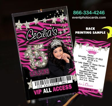 zebra stars vip pass invites the perfect quinceanera or sweet