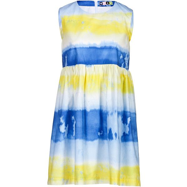 MSGM Cotton Tie-Dye Dress (225 AUD) ❤ liked on Polyvore featuring dresses, stripe, striped dress, blue sleeveless dress, blue dress, blue cotton dress and sleeveless dress