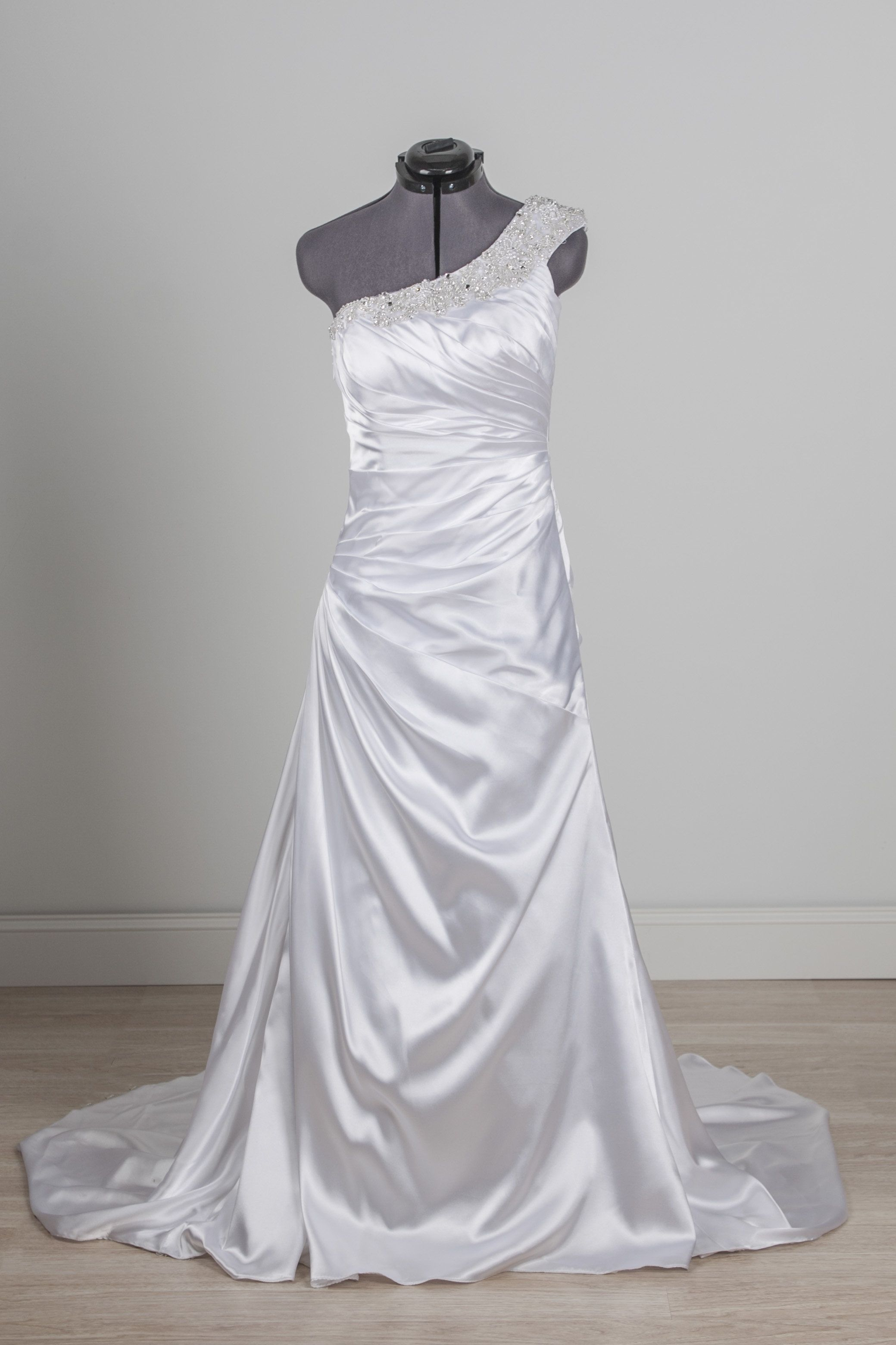 Galina Signature - SWG494 - one shoulder wedding dress rental on Borrowing Magnolia.  Save money on designer wedding dresses online.  Buy or rent wedding dresses online.