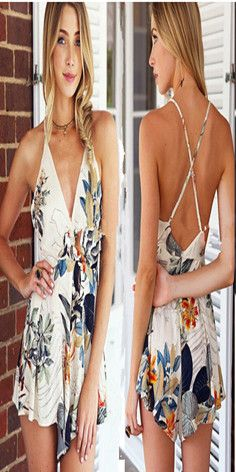 Sexy Backless Deep V-neck Floral Print Sling Jumpsuits  #summer