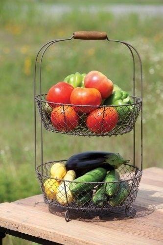 Metal Fruit Basket 2 Tier Kitchen Vegetable Orange Storage Rack Table Top Handle #MetalFruitBasket