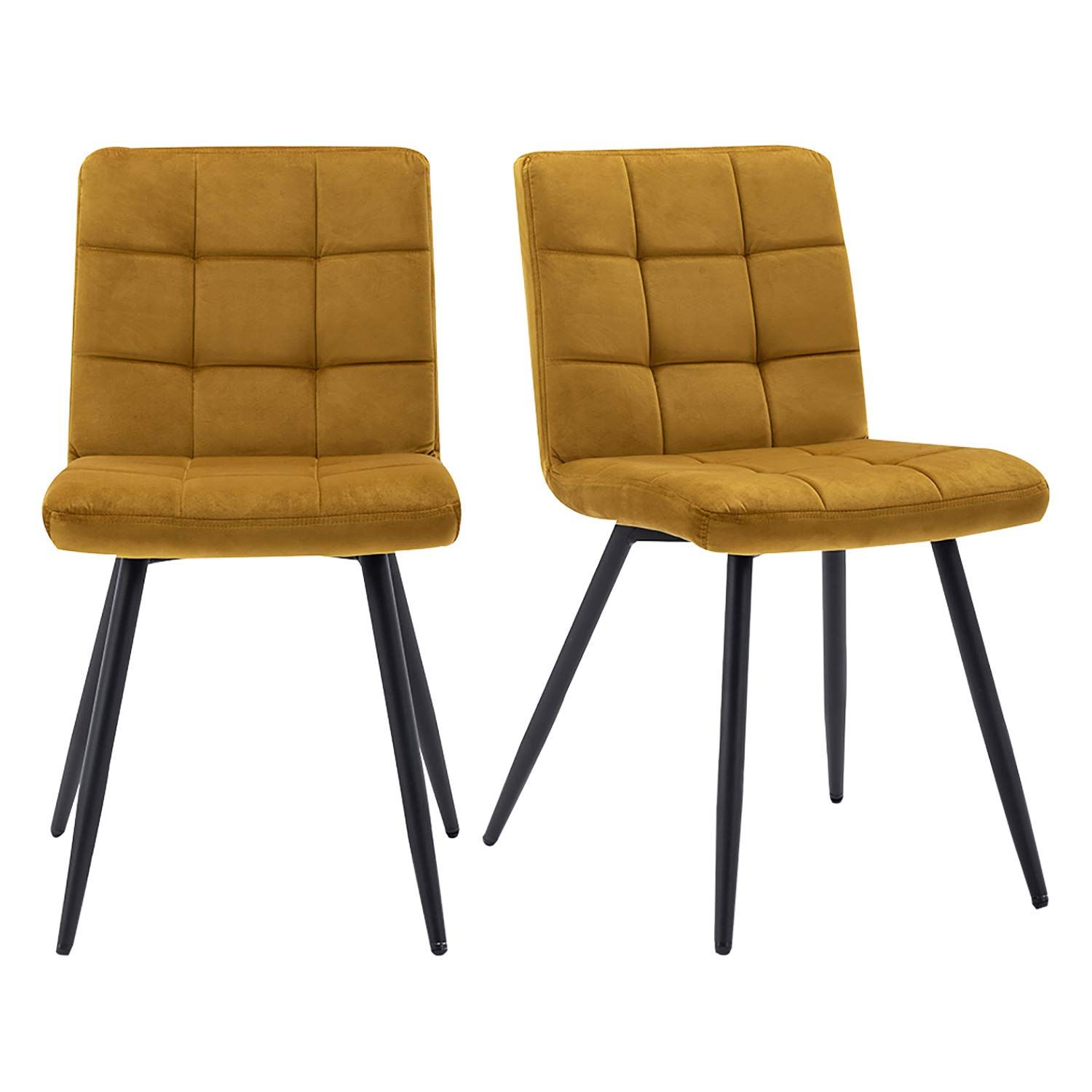 HNNHOME® Set of 2 x Cubana Kitchen Dining Upholstered Chair Lounge Living Room Chair Soft Velvet Reception Pub Restaurant Chair with Strong Black Metal Legs (Dark Grey, Fabric)