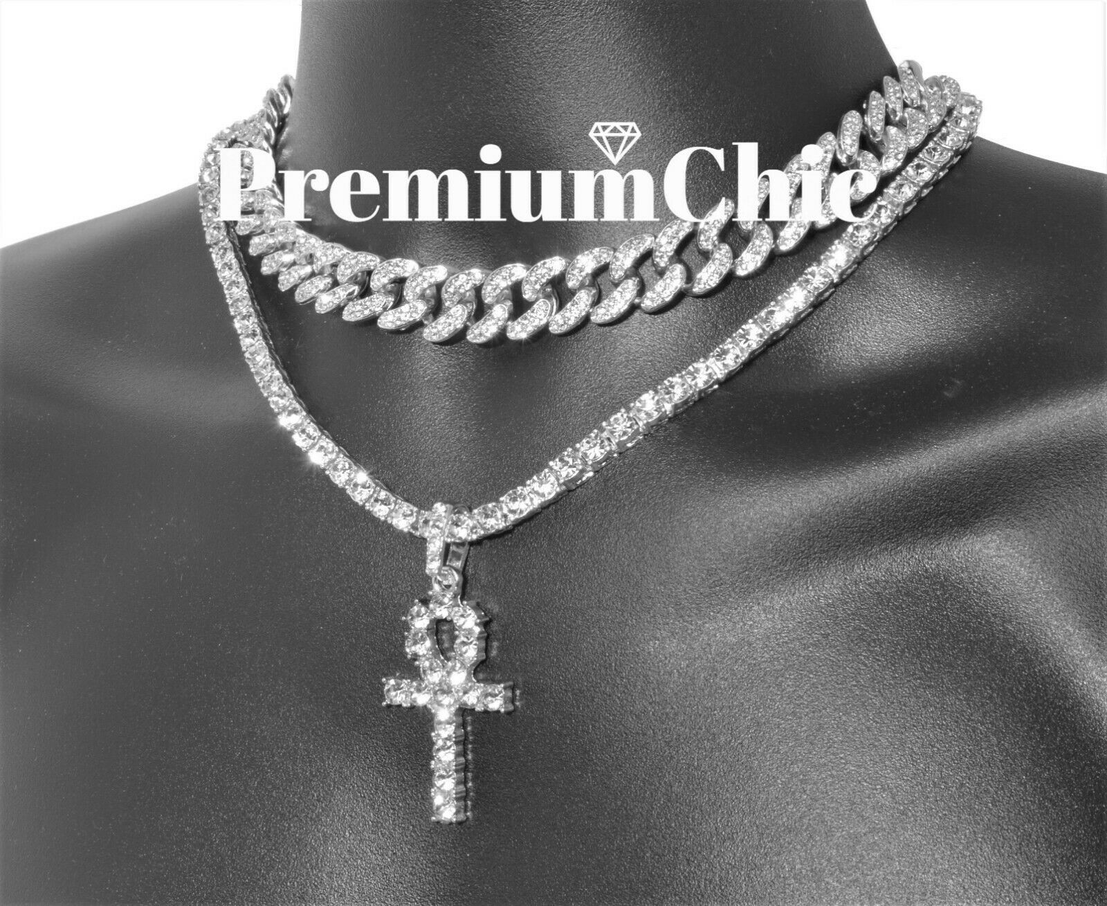 Iced Out White Gold Plated Miami Cuban And Tennis Chain Choker Necklace Set And Praying Hand Pendant Wit Choker Necklace Set Chain Choker Necklace Chain Choker