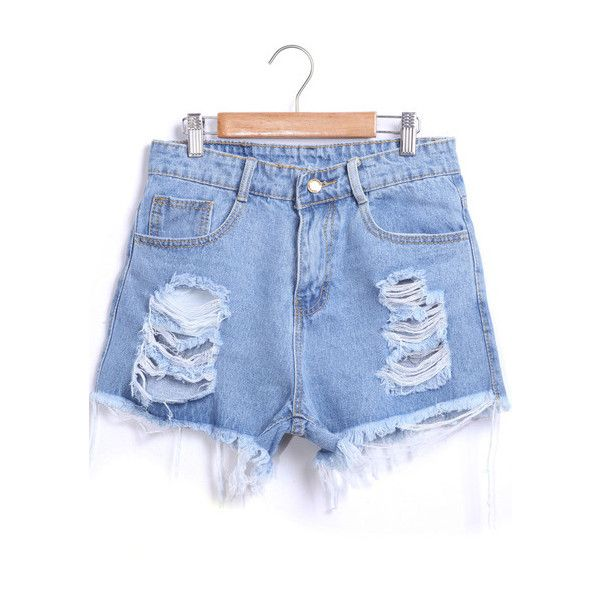 Blue Ripped Fringe Denim Shorts (26 BAM) via Polyvore featuring shorts, romwe, fringe shorts, blue jean shorts, destroyed denim shorts, distressed jean shorts i ripped shorts
