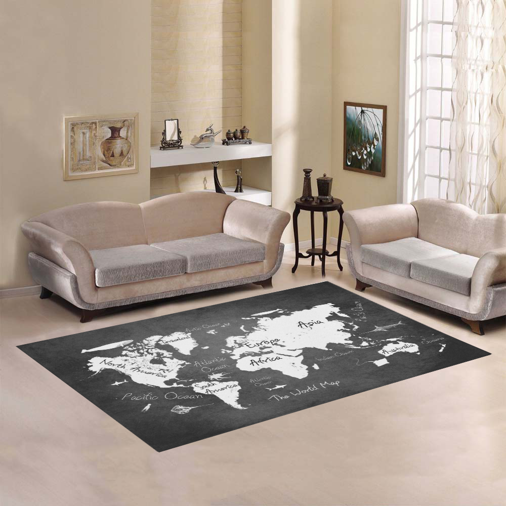 Black And White World Map Rug: World Map Area Rug7'x5'