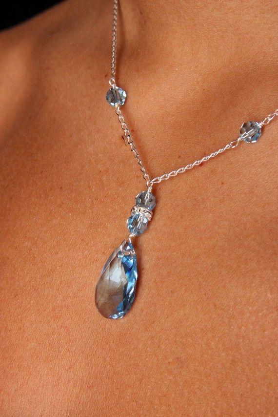 Aquamarine Swarovski Crystal Bridal Bridesmaid Y by FrostingBridal