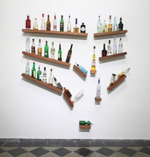 Drunken bottles. Fantastic shelving idea! you drink enough wine that it would be way cool