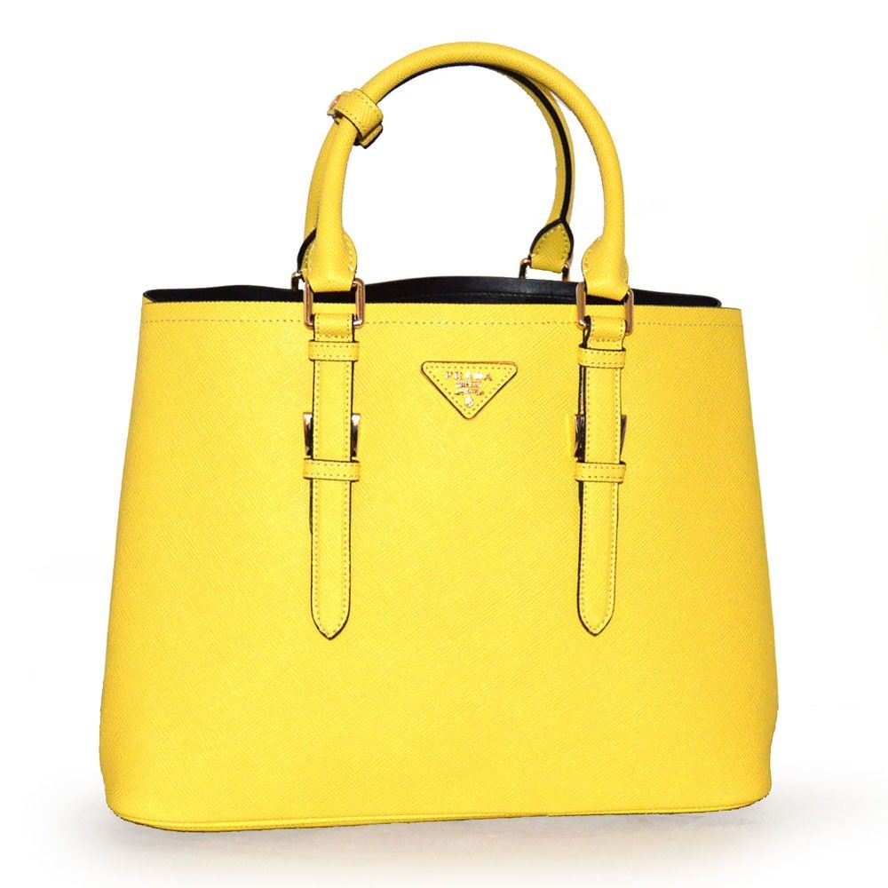 ea153d552c6 Prada Large Saffiano Cuir Double Handbag BN2820 Yellow (Mimosa ...