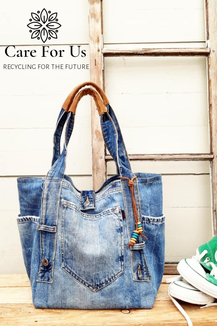 Jeans Shopper With Leather Handle Jeans Bag Denim Bag Recycled Jeans Bag
