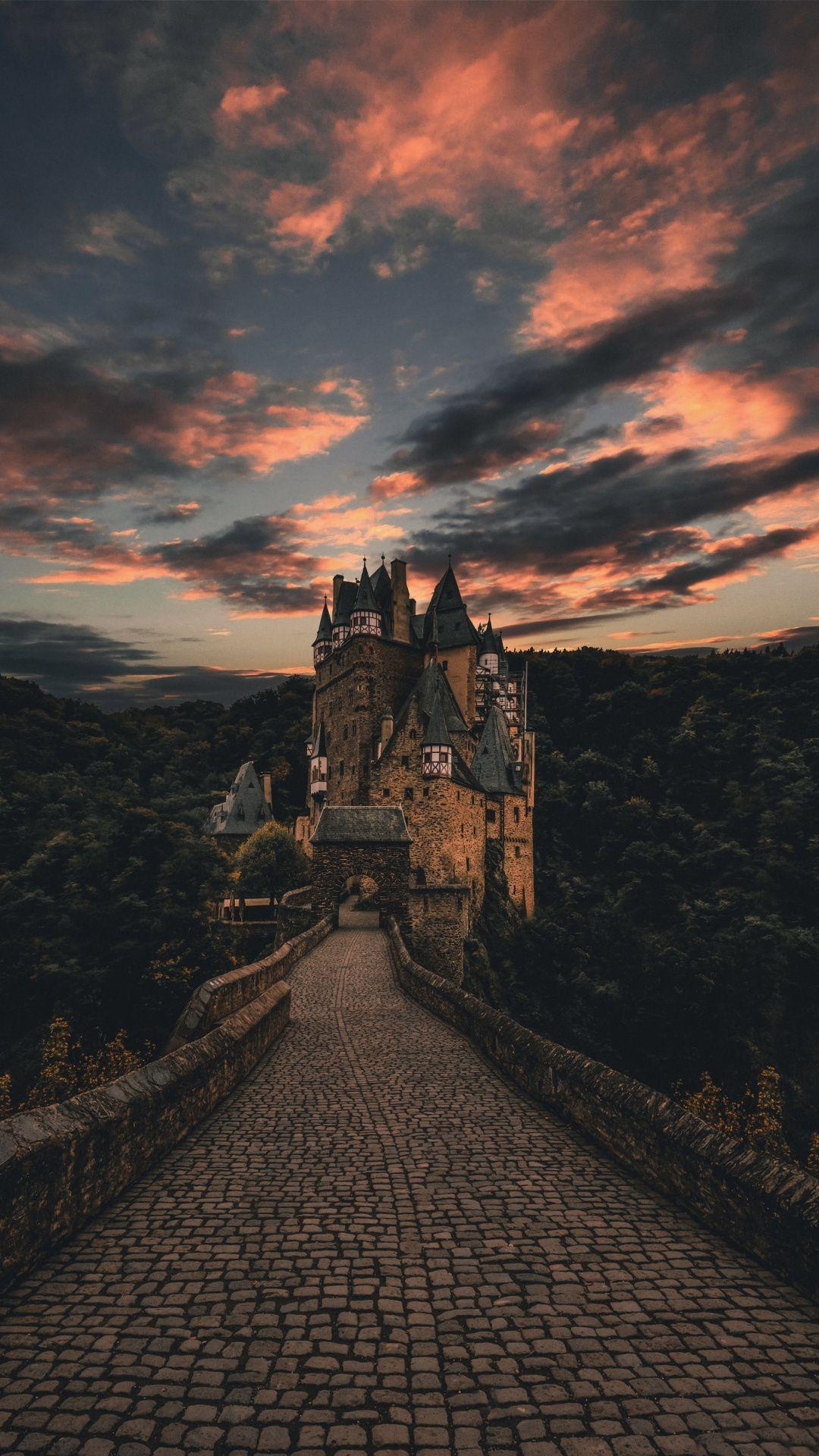 Wierschem, Germany, sunset, road, tree, castle, 1080x1920 wallpaper