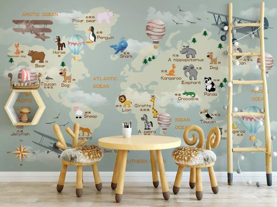 Kids World Map With Animals 3d Textile Wallpaper Hot Air Balloons And Aircrafts Brown Wall Murals For Kids R Kids Room Wallpaper Kids Room Murals Kids Room Art