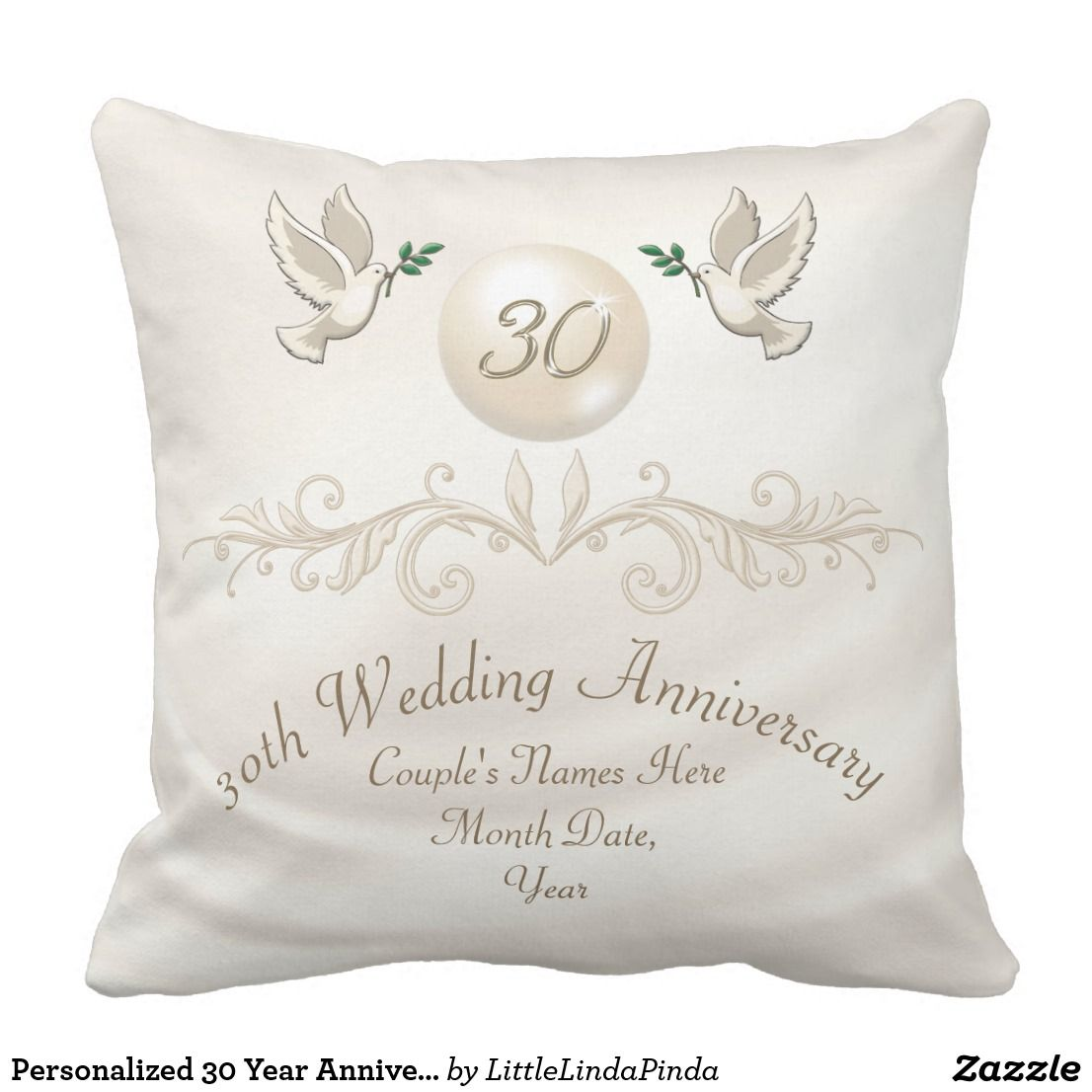 Personalized 30 Year Anniversary Gift For Wife Throw Pillow 30th
