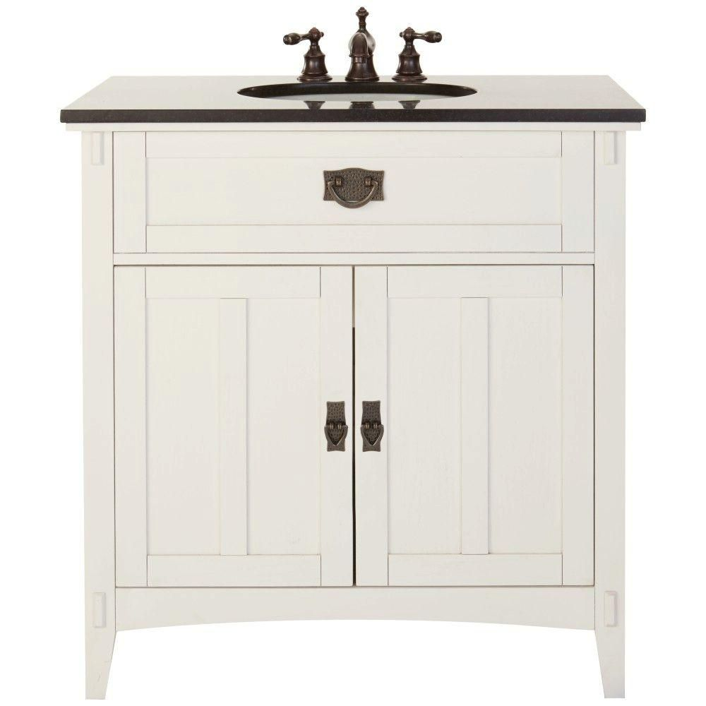 Home Decorators Collection Artisan 33 In W Bath Vanity In White With Natural Marble Vanity Top In Black 9527600410 Marble Vanity Tops Vanity Single Bathroom Vanity