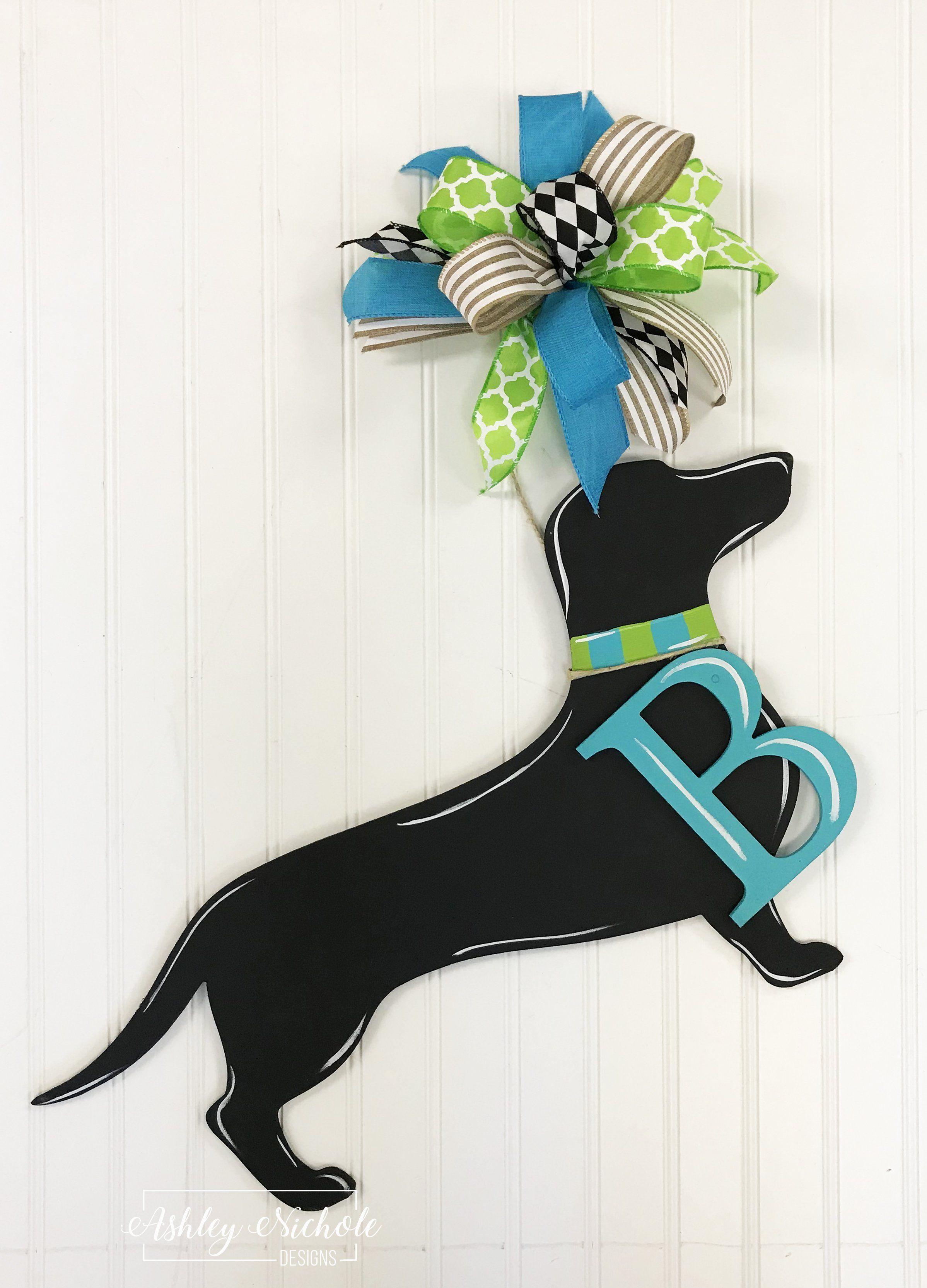 Dog or Cat Silhouette Door Hanger with INITIAL