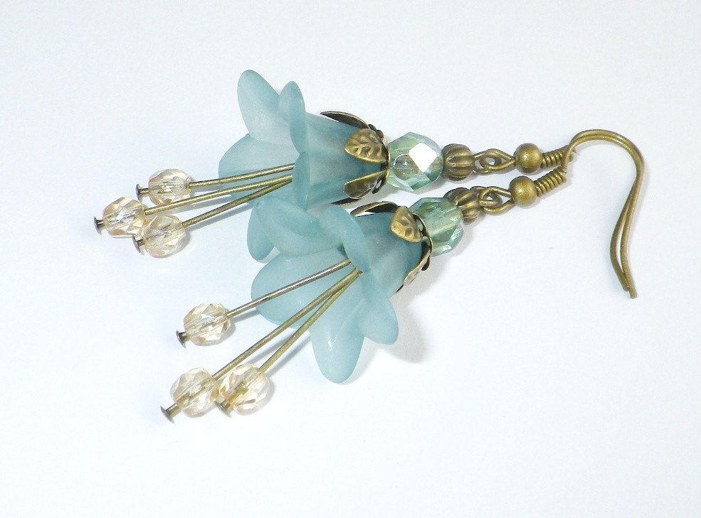 Aqua Flower Earrings, Light Teal Earrings, Ecru Glass Bead Earrings, Flower Earrings - Whimsy Collection. $24.00, via Etsy.