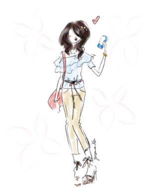 Summer fashion illustration -- ruffled off shoulder outfit quick sketch by Deanna kei.