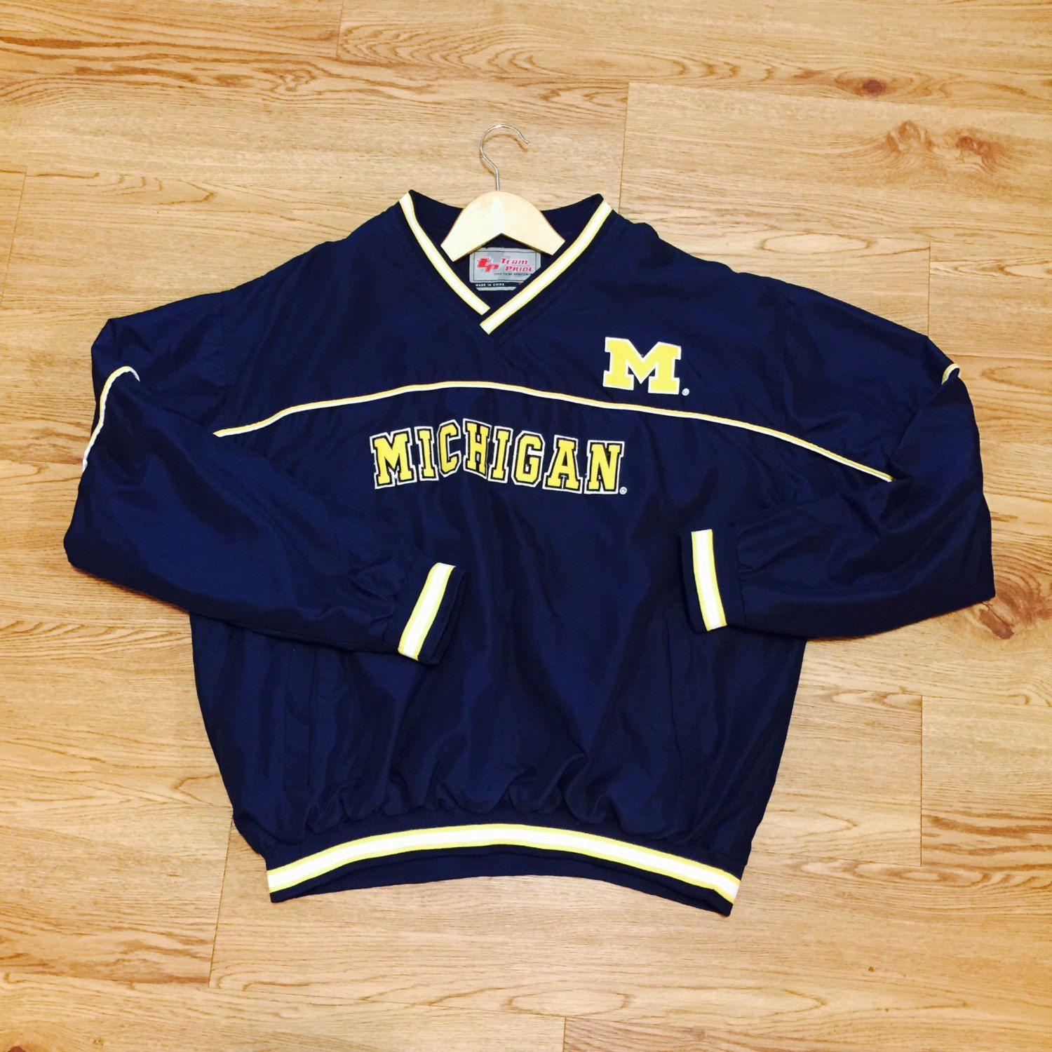 Vintage Michigan Wolverines PullOver Jacket by VNTGvault on Etsy 12f077d8e