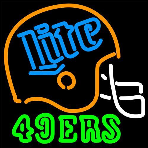 Miller Lite 49ers Neon Beer Sign 16x16 | Neon signs, Neon