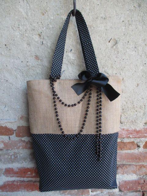 tendance sac 2017 2018 grand sac cabas en toile de jute naturelle et coton noir motifs petits. Black Bedroom Furniture Sets. Home Design Ideas
