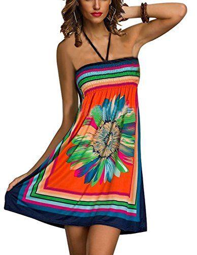 8b896a8df5 ZANZEA Womens Boho Sexy Floral Print Tube Summer Short Dress Long Skirt 3 in  1 http