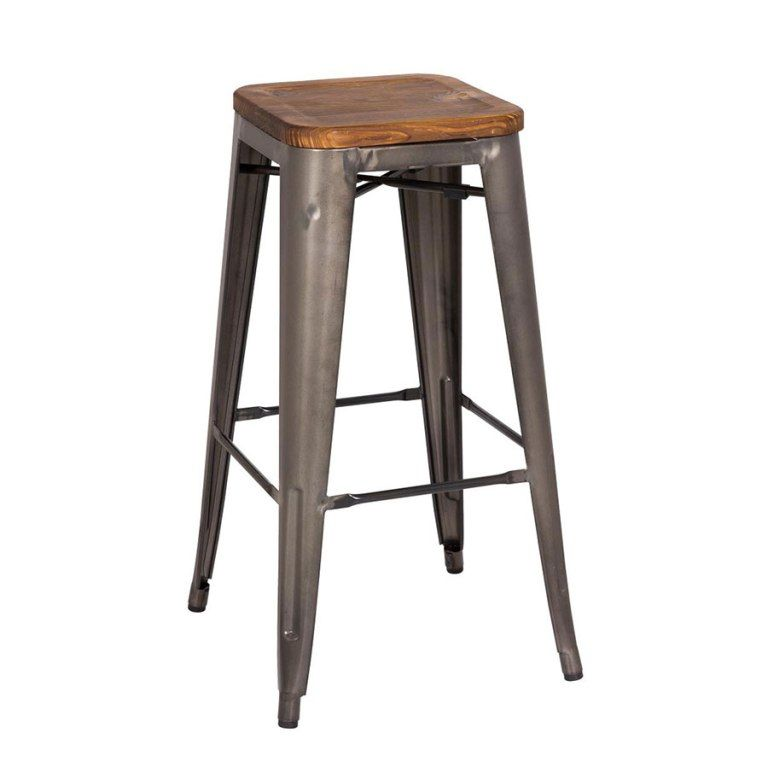 Interior Dark Backless Bentwood Bar Stools From The Using Of