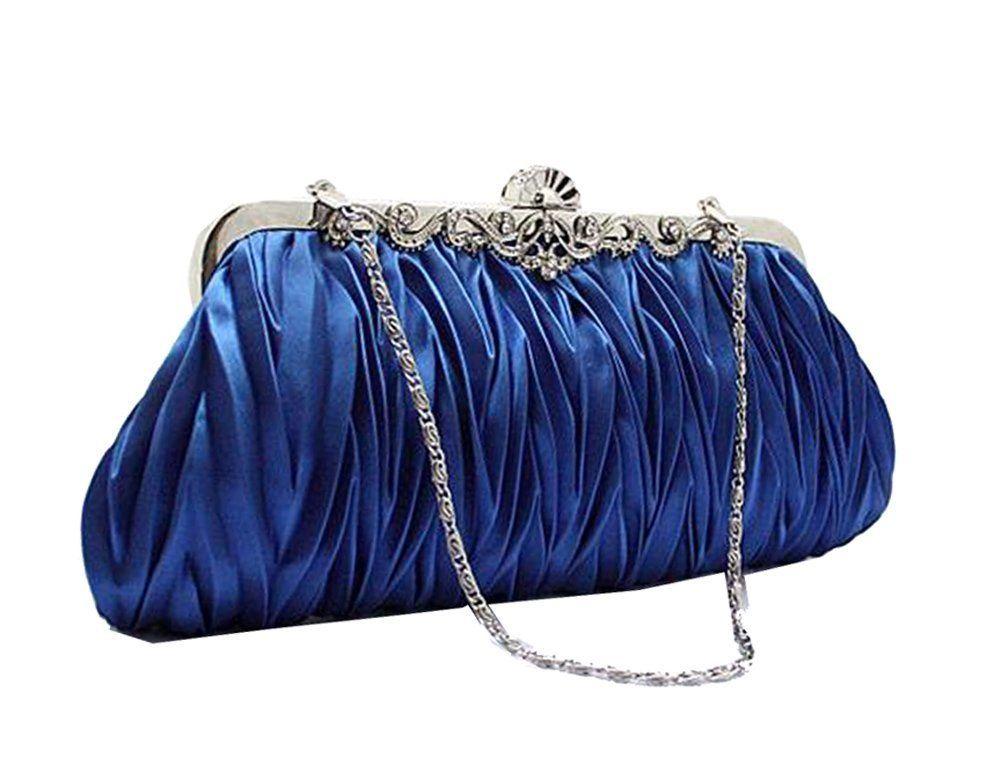 3236b0a2b56b Amazon.com  Chicastic Royal Blue Satin Rhinestone Bridal and Wedding Clutch  Purse  Clothing