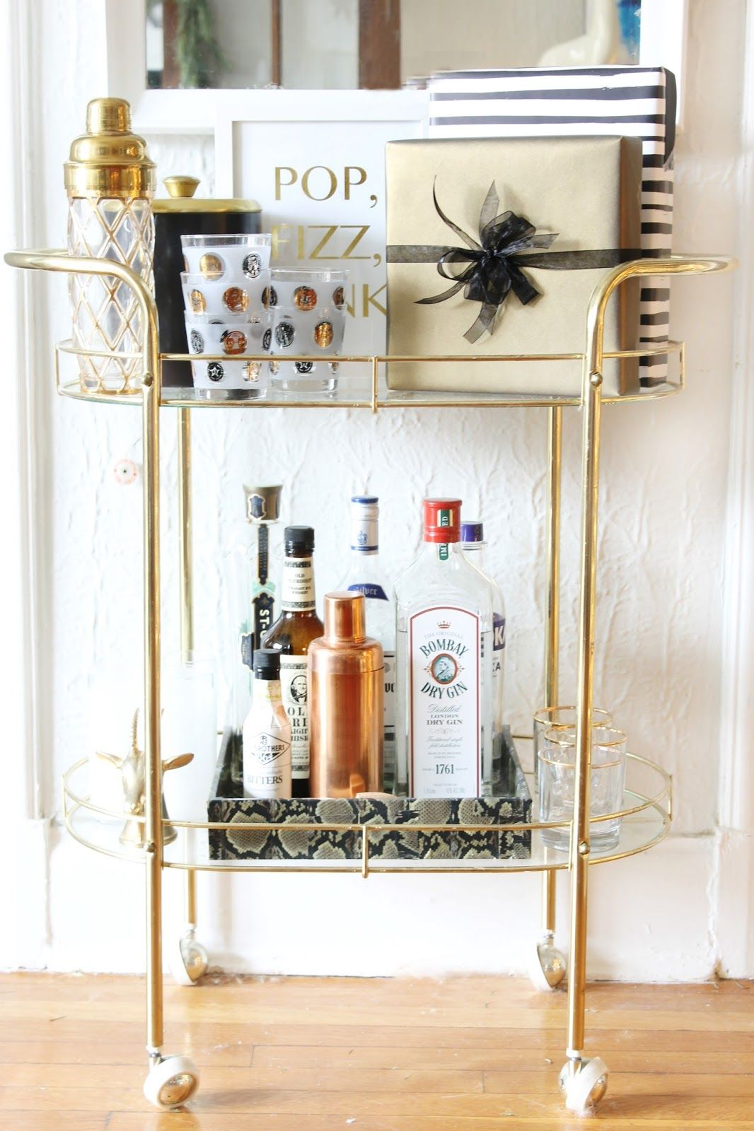 Gold bar cart decorated for Christmas | Burlap and Lace | HOME ...