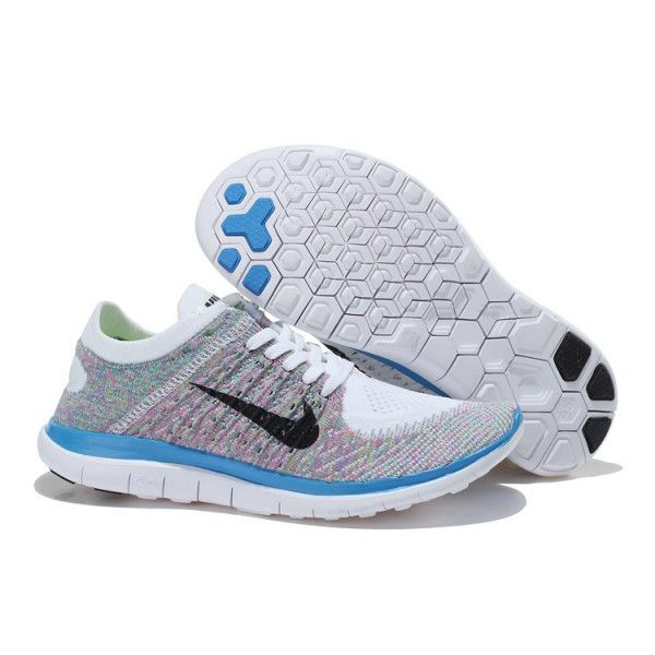Nike Free 40 Flyknit Blue Pink White Running Shoes