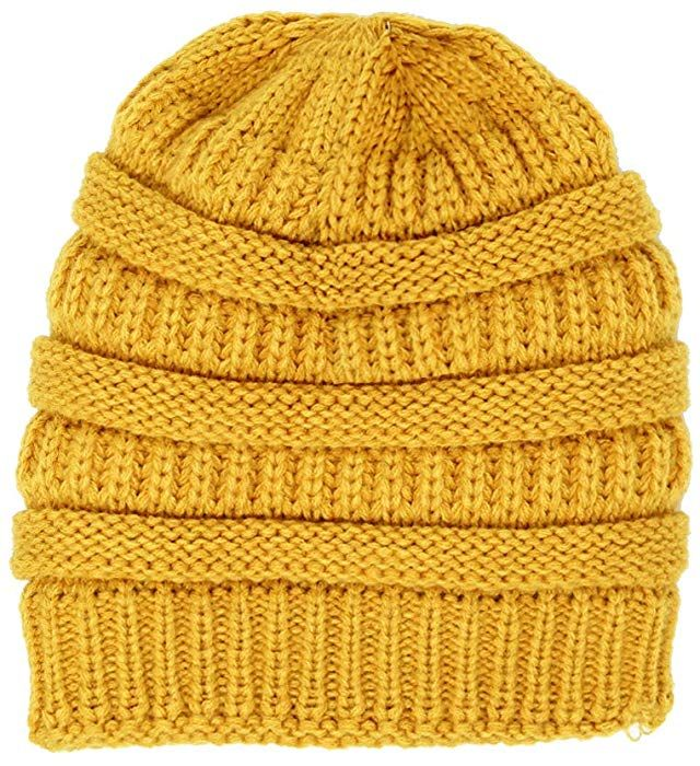 7544cf39b32 Me Plus Winter Fleece Lined Soft Warm Cable Knitted Beanie Hat for Women    Men (Mustard) at Amazon Women s Clothing store