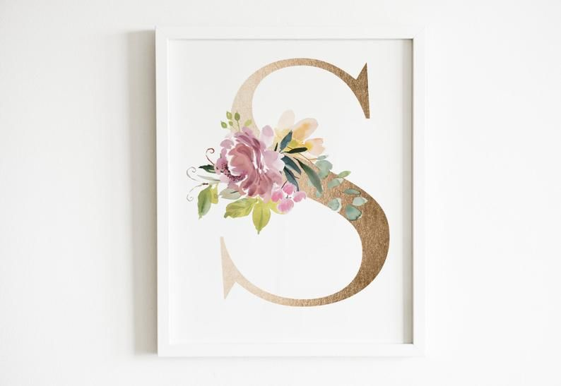 Blush Pink Floral And Gold S Wall Art S Monogram Wall Art Etsy Monogram Wall Art Nursery Wall Art Girl Etsy Wall Art