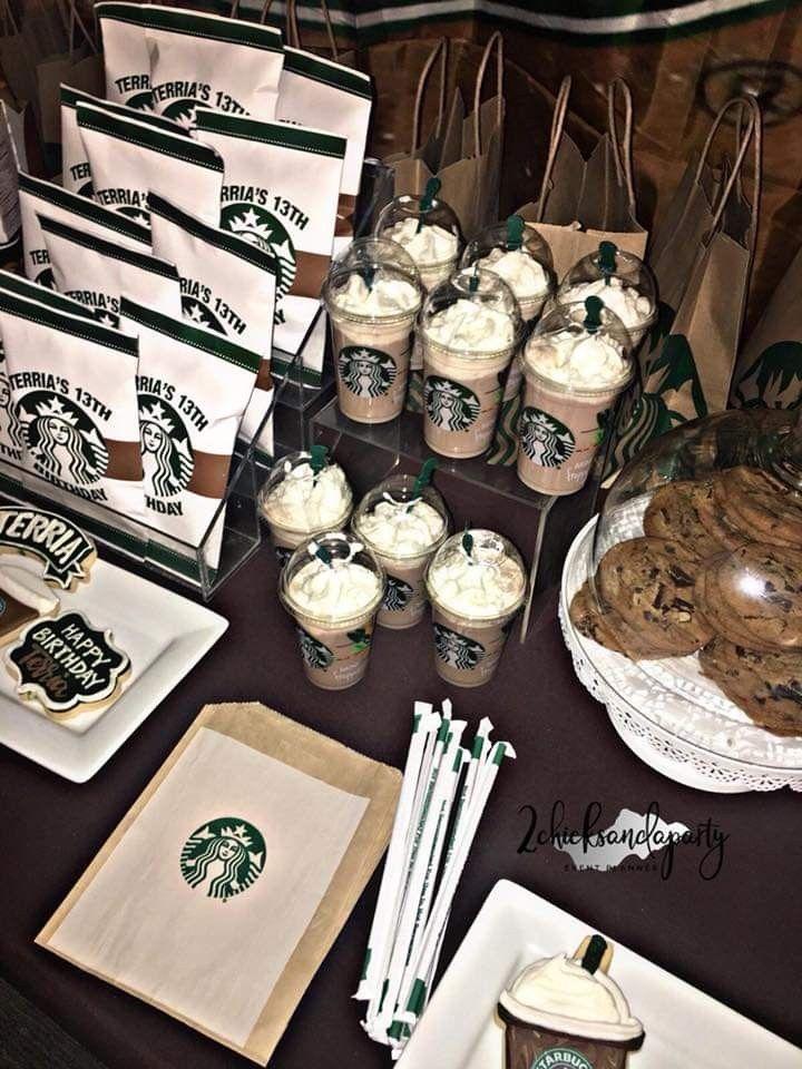 Starbucks Themed Birthday Party Starbucks Birthday Party Teenage Birthday Party Starbucks Birthday