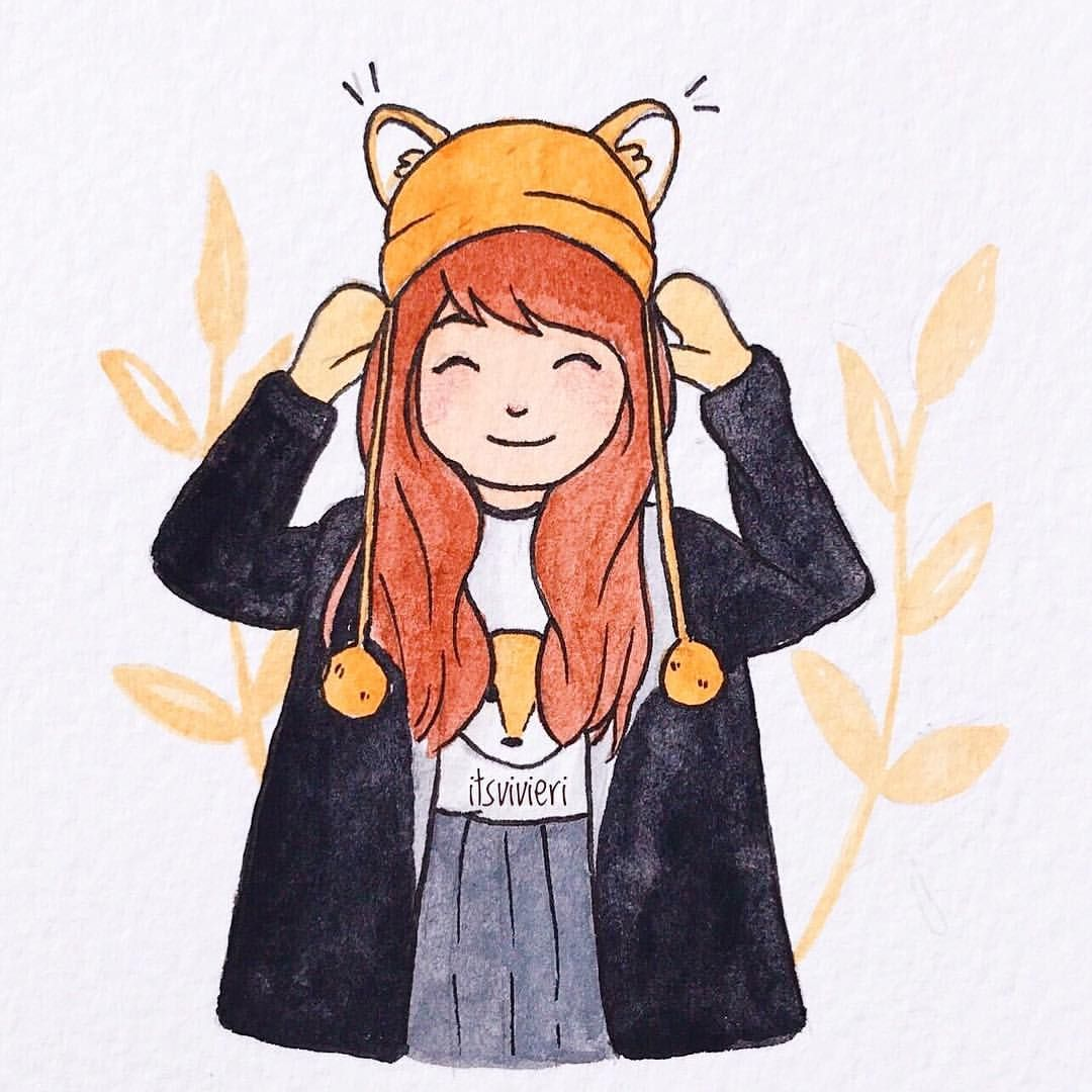 14/30 - Cute hat | Saw this cute little wolf's ear hat in Pinterest and I have to draw it