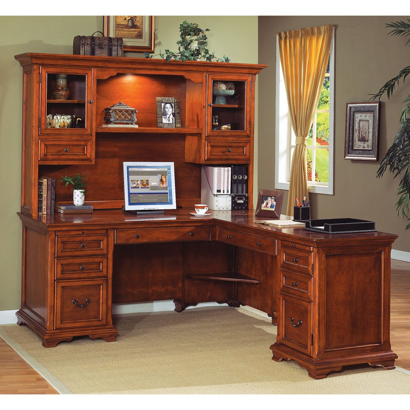 l shape office desks. L Shaped Desk With Hutch Home Office - Real Wood Furniture Check More At Shape Desks