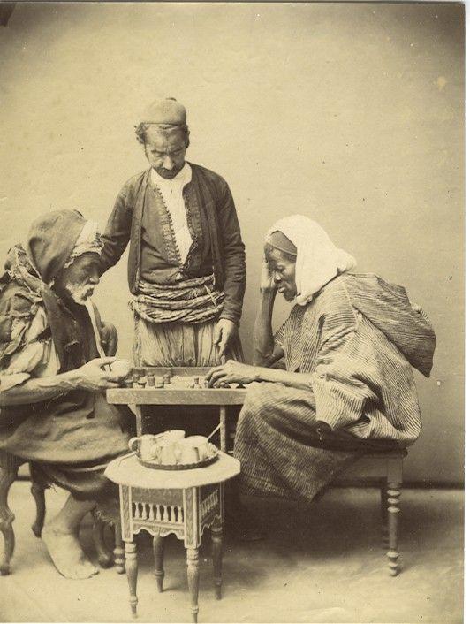 Backgammon players, Cairo, 19c
