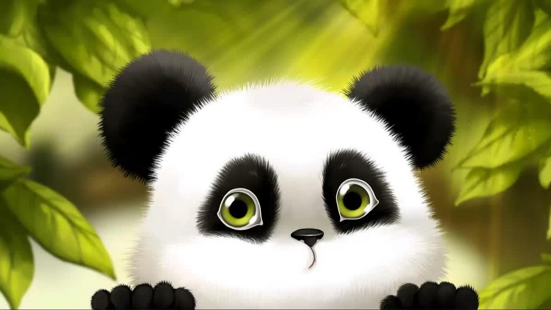 Cute Baby Panda Cartoon Wallpaper