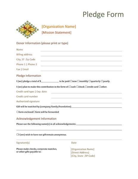 Donation Pledge Form This Form Normally Contains Basic