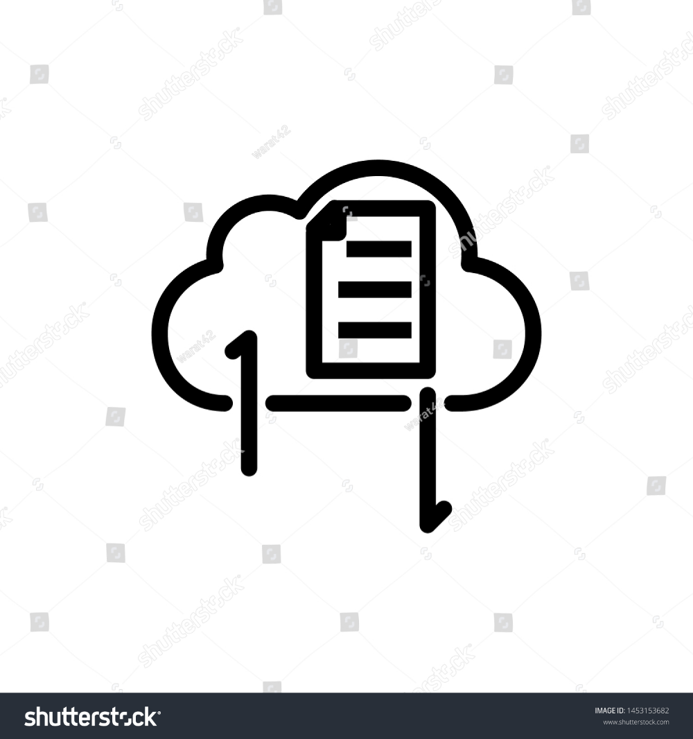Cloud With Message And Arrow Isolated On White Background Thin Line Icon Vector Illustration For Symbol Web Or A Clouds White Stock Image Vector Illustration